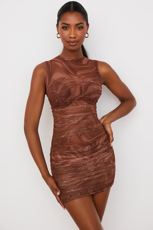 Elodie Cocoa Swirl Gathered Beach Dress