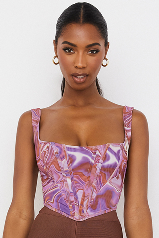 Ninetta Purple Swirl Print Mesh Corset