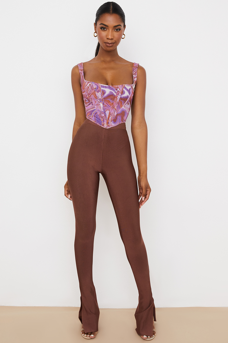 Gloriette Chocolate High Waisted Bandage Trousers