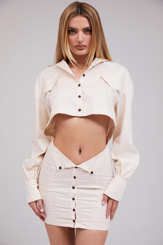 Hope Beige Cutout Shirt Dress