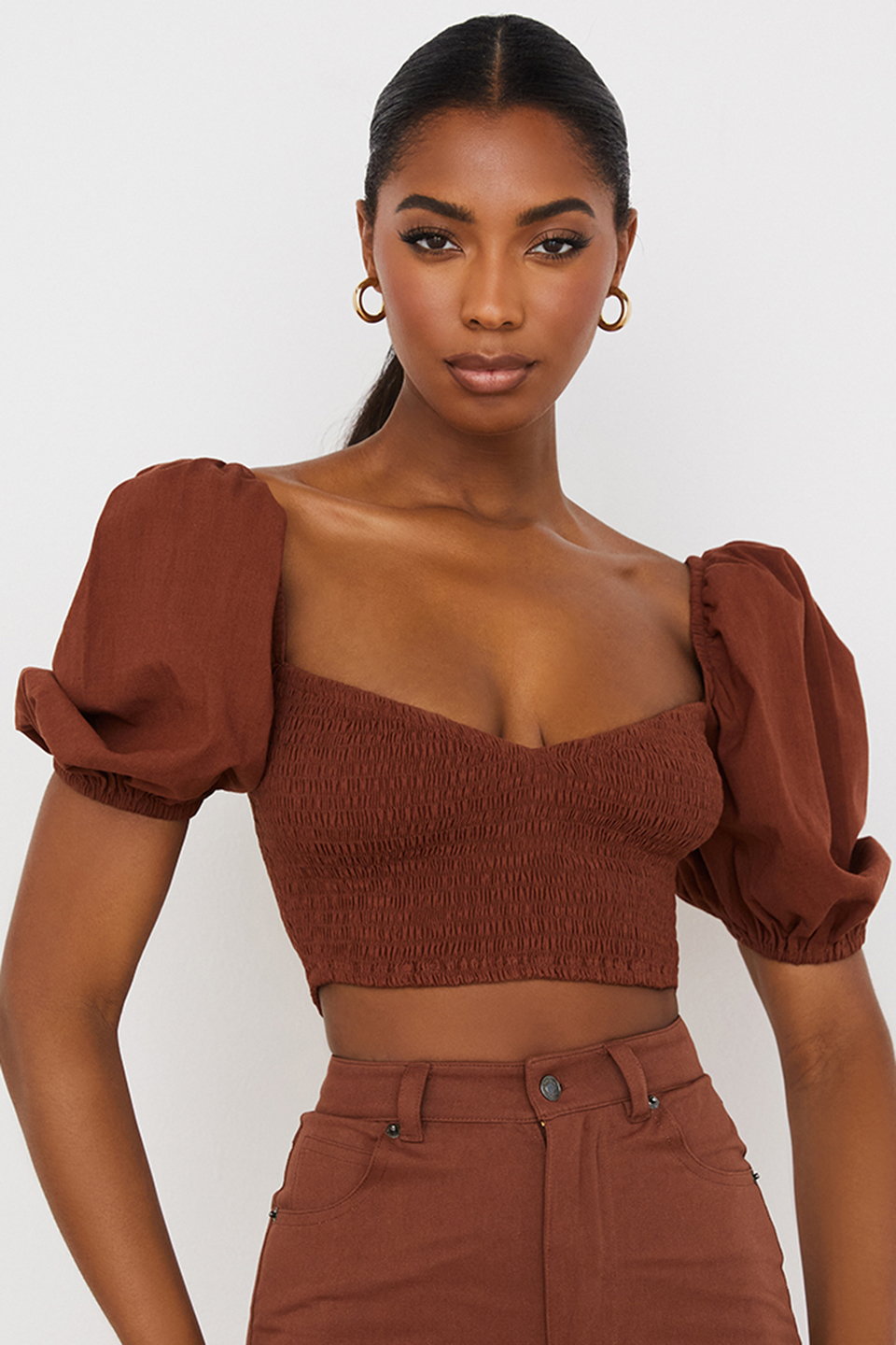Lavanna Cocoa Puff Sleeve Cropped Top