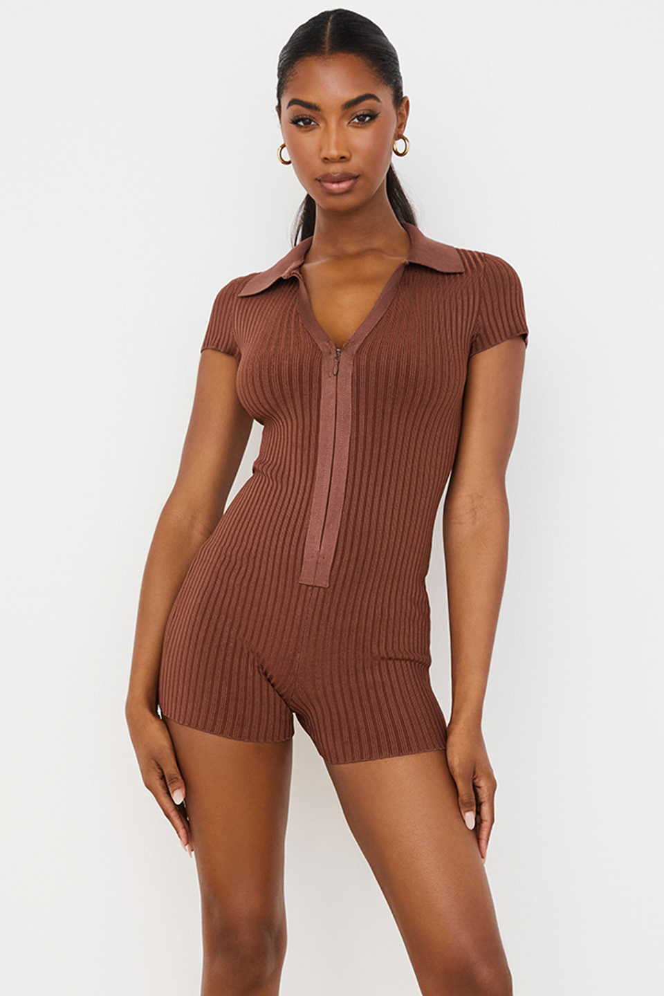 Lina Chocolate Ribbed Bandage Playsuit