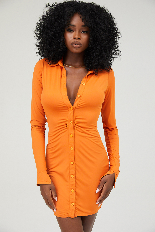 Marquis Orange Long Sleeved Mini Dress