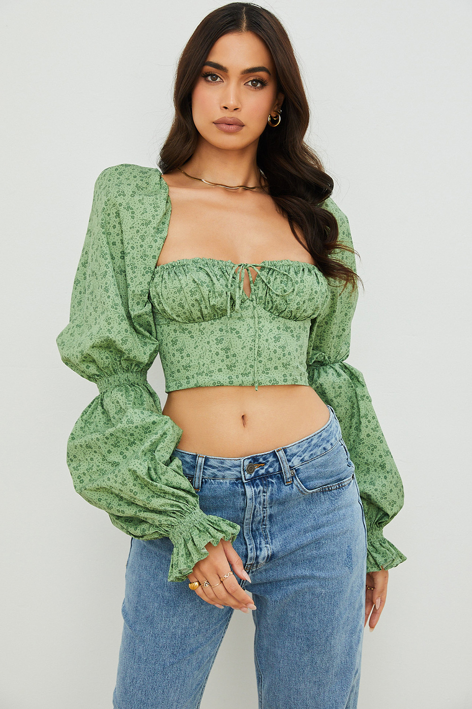 Millicent Green Tonal Floral Cropped Corset Top