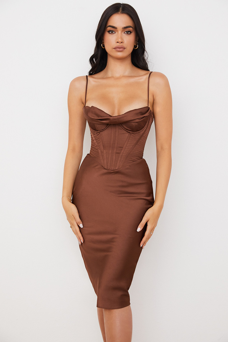 Myrna Brown Cowl Neck Slip Dress