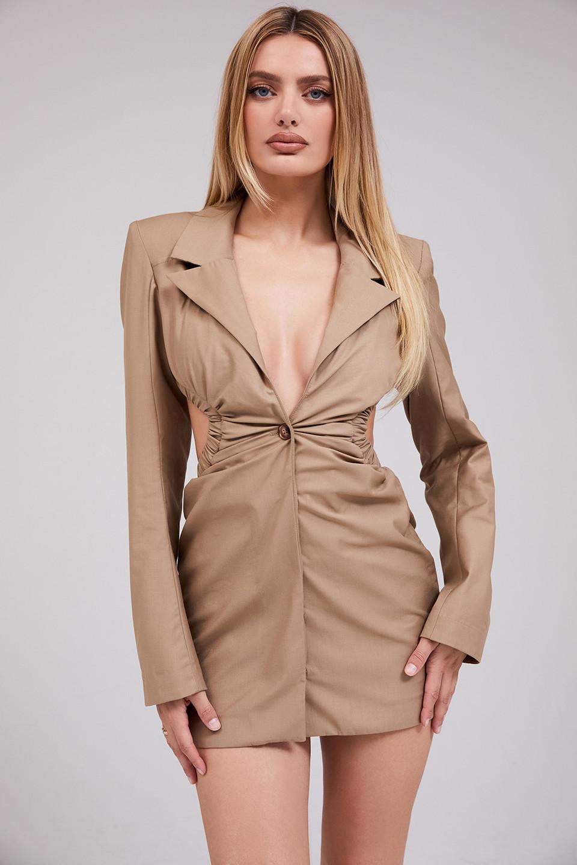 Obsess Camel Twill Open Back Jacket Dress
