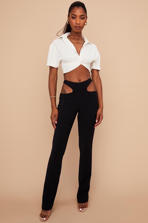 Osaka Black Crepe Cutout Trousers