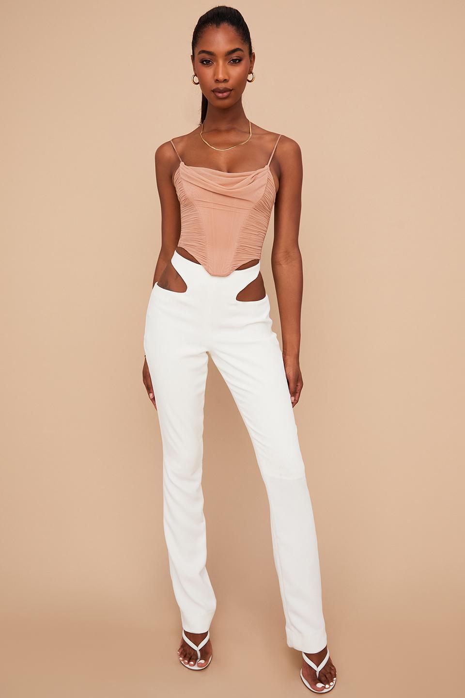 Osaka White Crepe Cutout Trousers