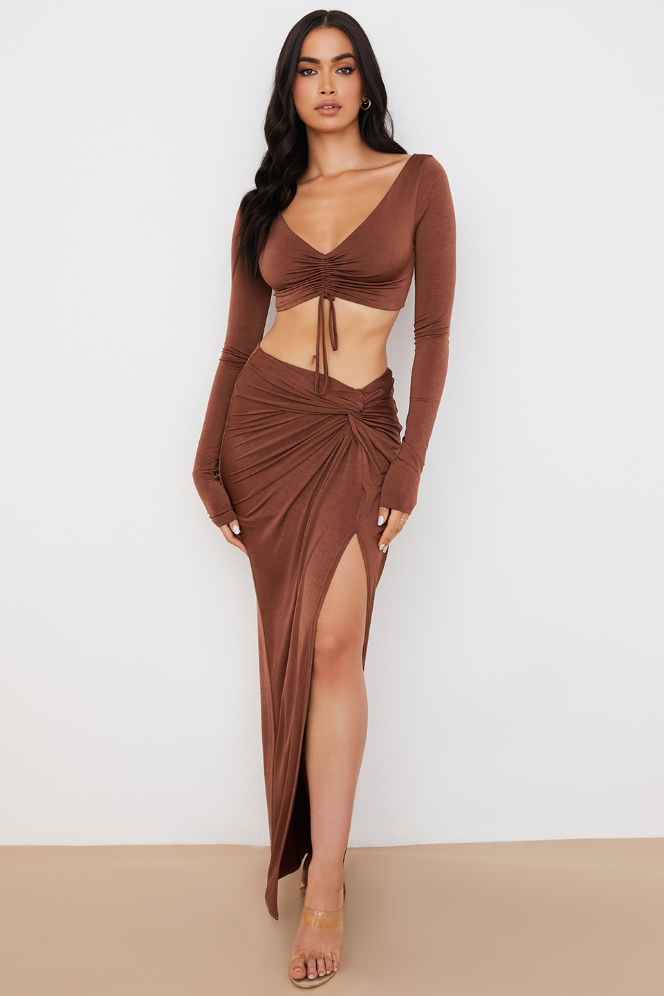 Imogen Chocolate Jersey Twist Front Maxi Skirt
