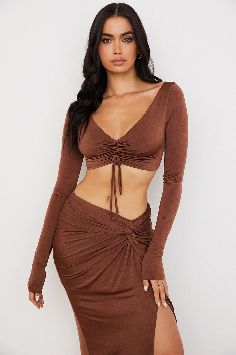 Angelita Chocolate Gathered Crop Top