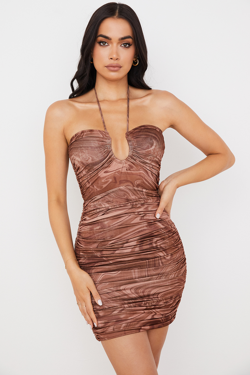 Letitia Cocoa Swirl Cutout Halter Mini Dress