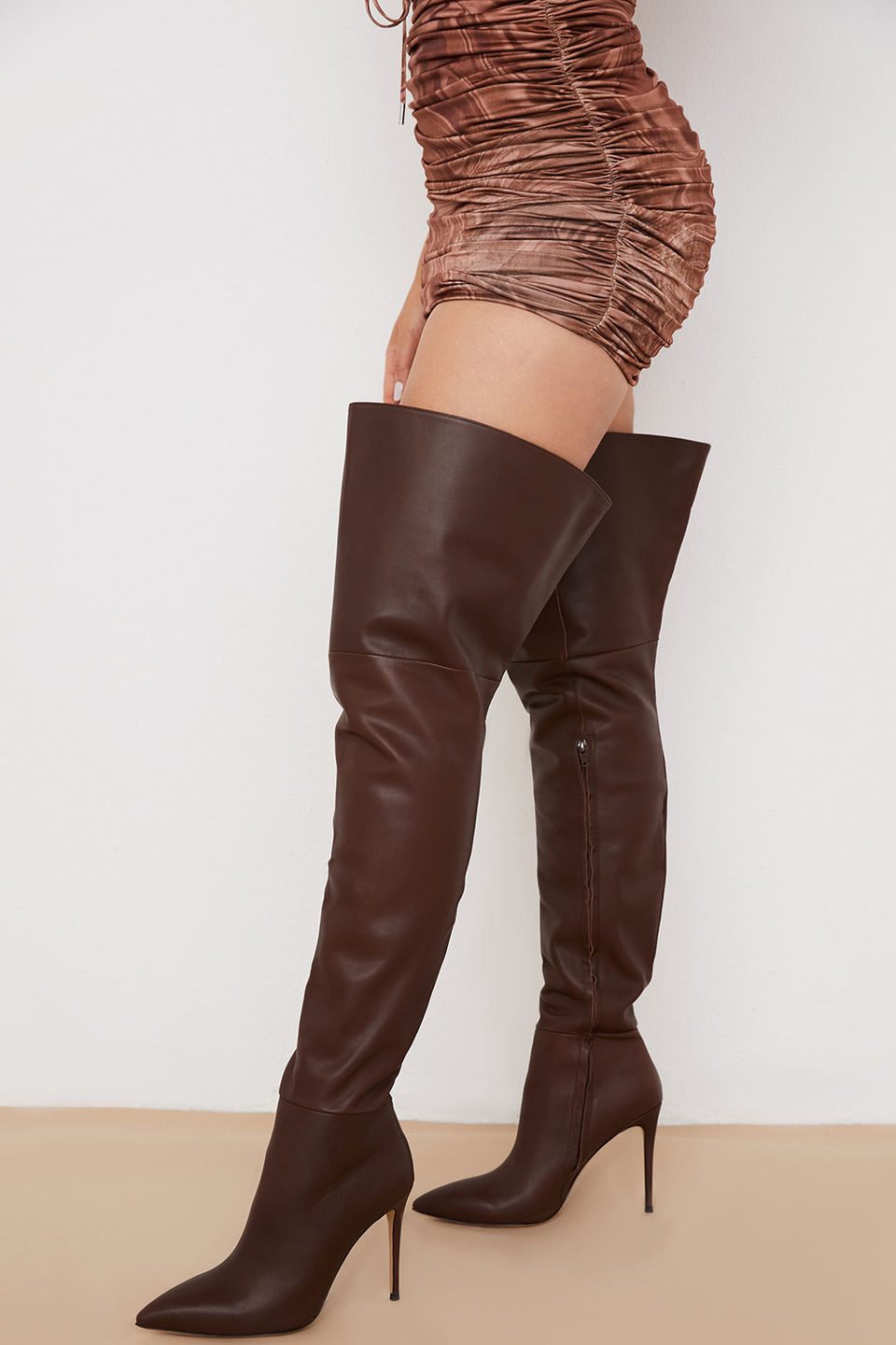 Lomax Chocolate Real Leather Thigh Boots