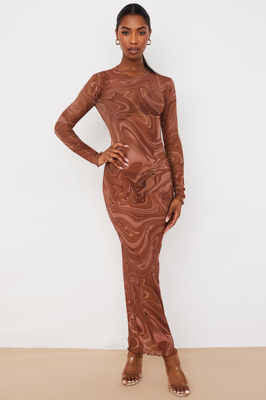Severine Cocoa Swirl Print Maxi Dress
