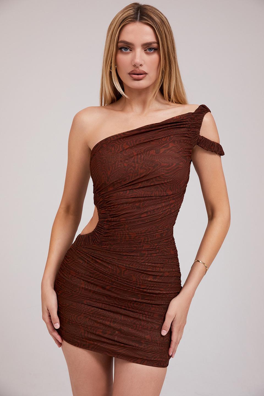 So In Love Cocoa Mesh Asymmetric Cutout Mini Dress