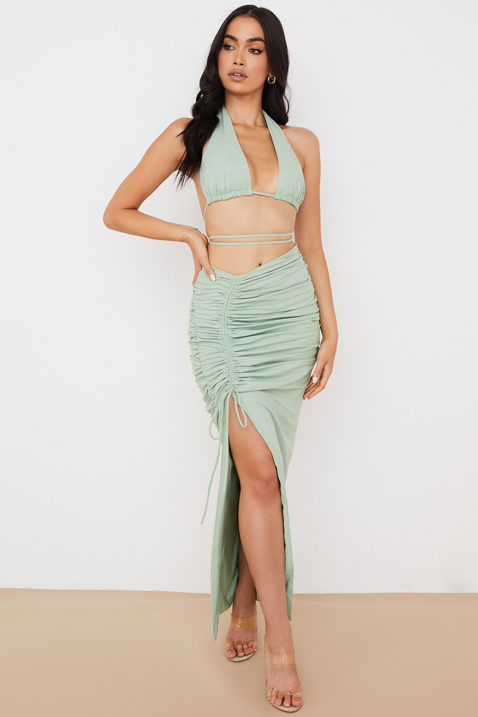 Solitaire Sage Gathered Drawstring Maxi Skirt
