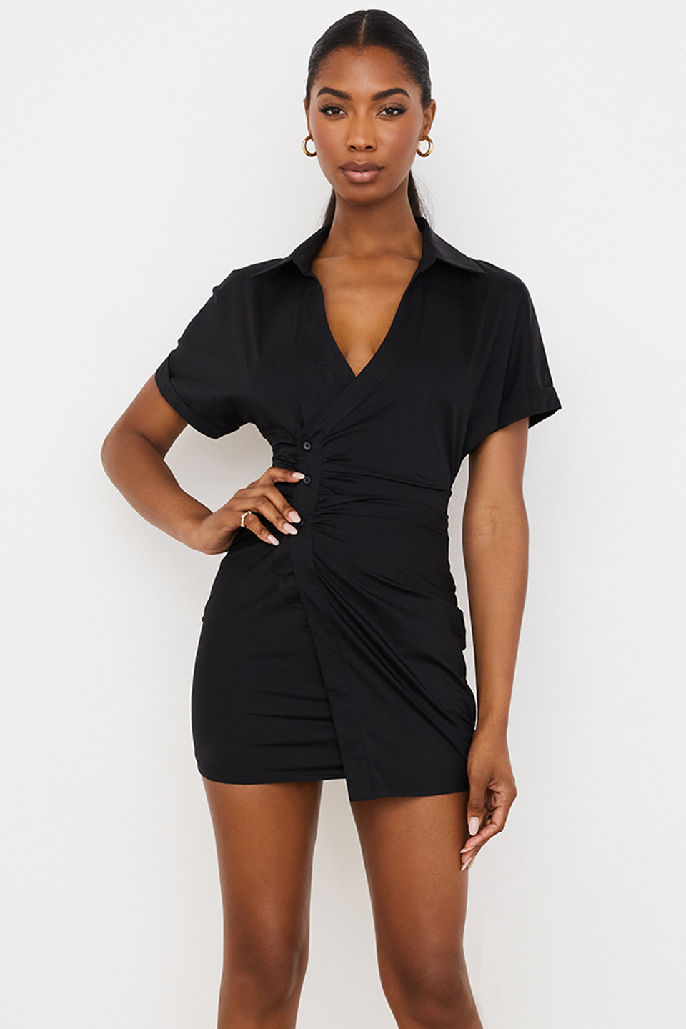 Sophia Black Wrap Shirt Dress