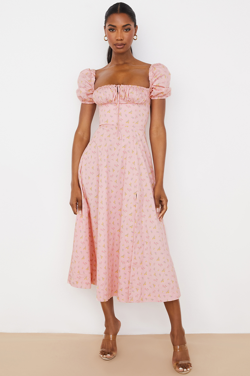 Tallulah Pink Floral Puff Sleeve Midi Dress