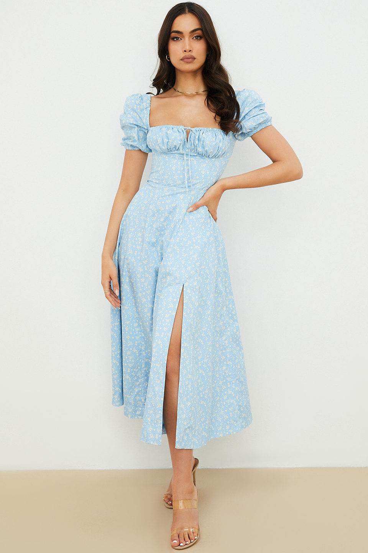 Tallulah Blue Ivory Floral Puff Sleeve Midi Dress