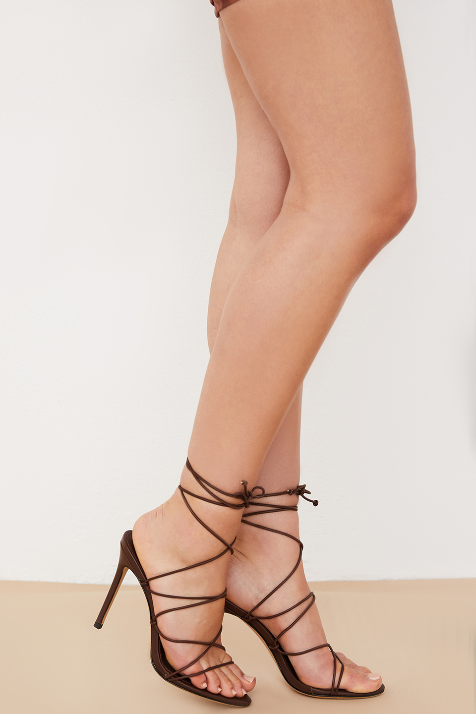 Tao 100 Chocolate Leather Barely There Sandal