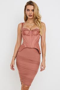 Talya Antique Rose Corset Midi Dress