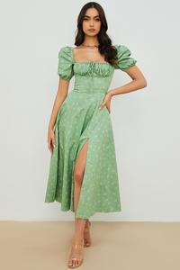Tallulah Olive Floral Puff Sleeve Midi Dress