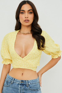 Alanya Lemon Floral Tie Front Top