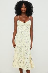 Annabella Lemon Floral Midi Sun Dress