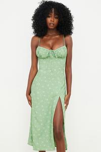 Carina Olive Floral Bustier Midi Dress