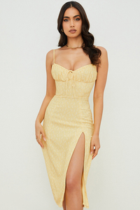 Carina Yellow Floral Bustier Midi Dress
