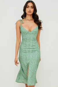 Cornelia Green Tonal Floral Midi Dress