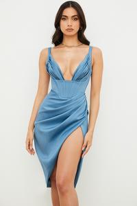 Faye Blue Satin Corset Midi Dress