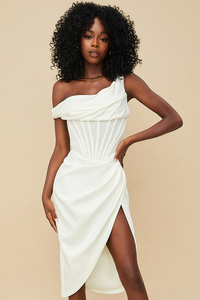Lulu Ivory Asymmetric Drape Midi Corset Dress