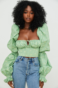 Millicent Olive Floral Cropped Corset Top