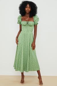 Tallulah Green Tonal Floral Puff Sleeve Midi Dress