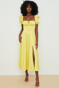 Tallulah Yellow Floral Puff Sleeve Midi Dress