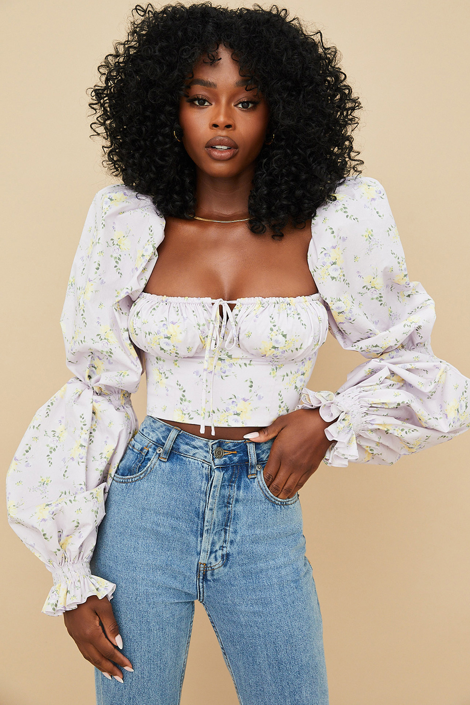 Millicent Lilac Floral Cropped Corset Top