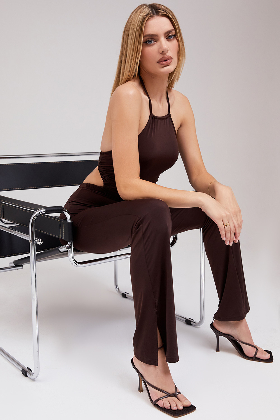 Bewitched Brown Jersey Cutout Jumpsuit