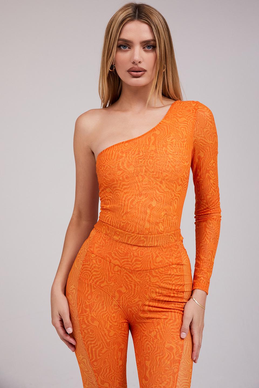 Charity Orange Print Asymmetric Bodysuit