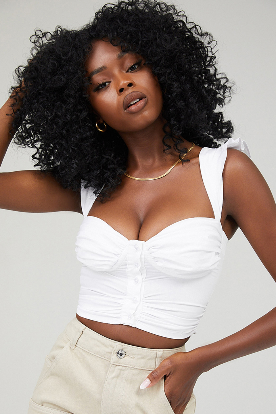 Edition White Cropped Bustier Top