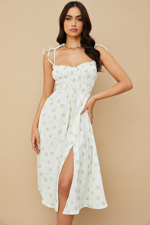 Christabel Ivory Floral Shirred Midi Dress