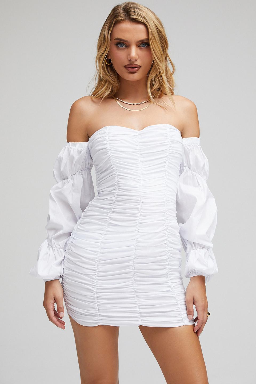 Cross My Mind Off Shoulder Ruched Mini Dress