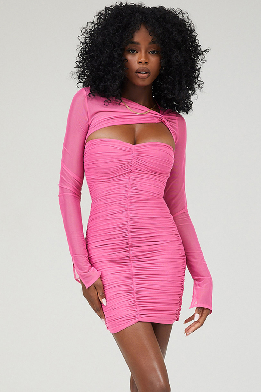 Frolic Pink Ruched Mesh Twist Front Mini Dress