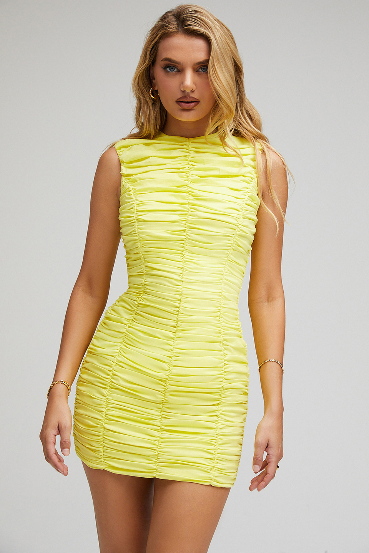 Dream Yellow Gathered Mini Dress