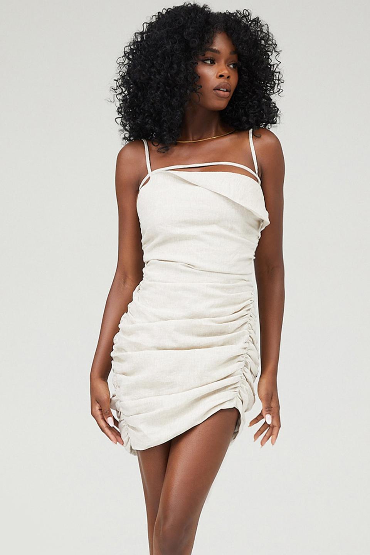 Hunter Stone Gathered Asymmetric Mini Dress