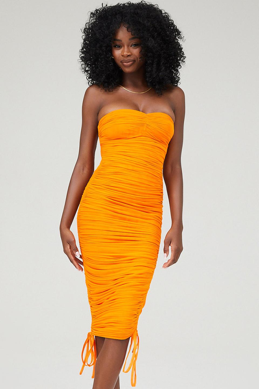 Liaison Orange Strapless Ruched Midi Dress