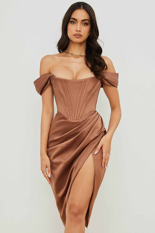 Loretta Toffee Satin Off Shoulder Dress