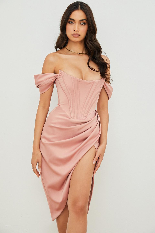 Loretta Blush Satin Off Shoulder Dress