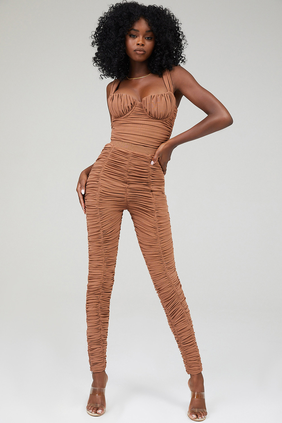 Love This Toffee Gathered Mesh Leggings
