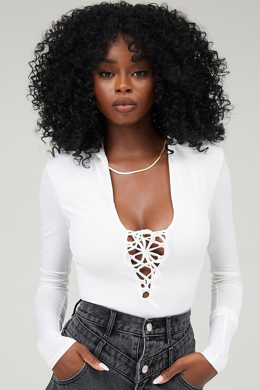 Maverick White Jersey Lace Up Bodysuit