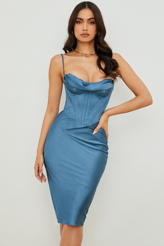Myrna Aegean Blue Corset Midi Dress